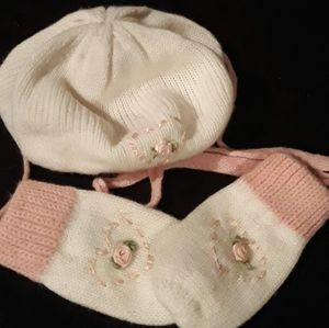 Baby Girls Knitted Winter Beret and Gloves